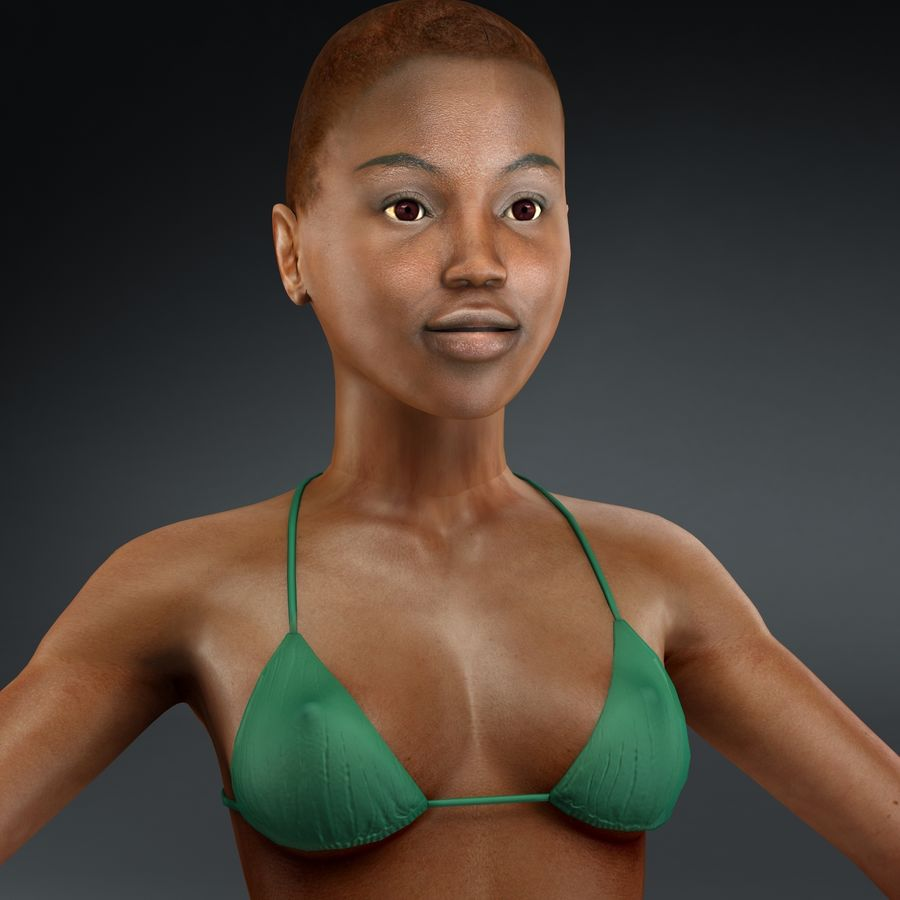 黑人妇女 royalty-free 3d model - Preview no. 14