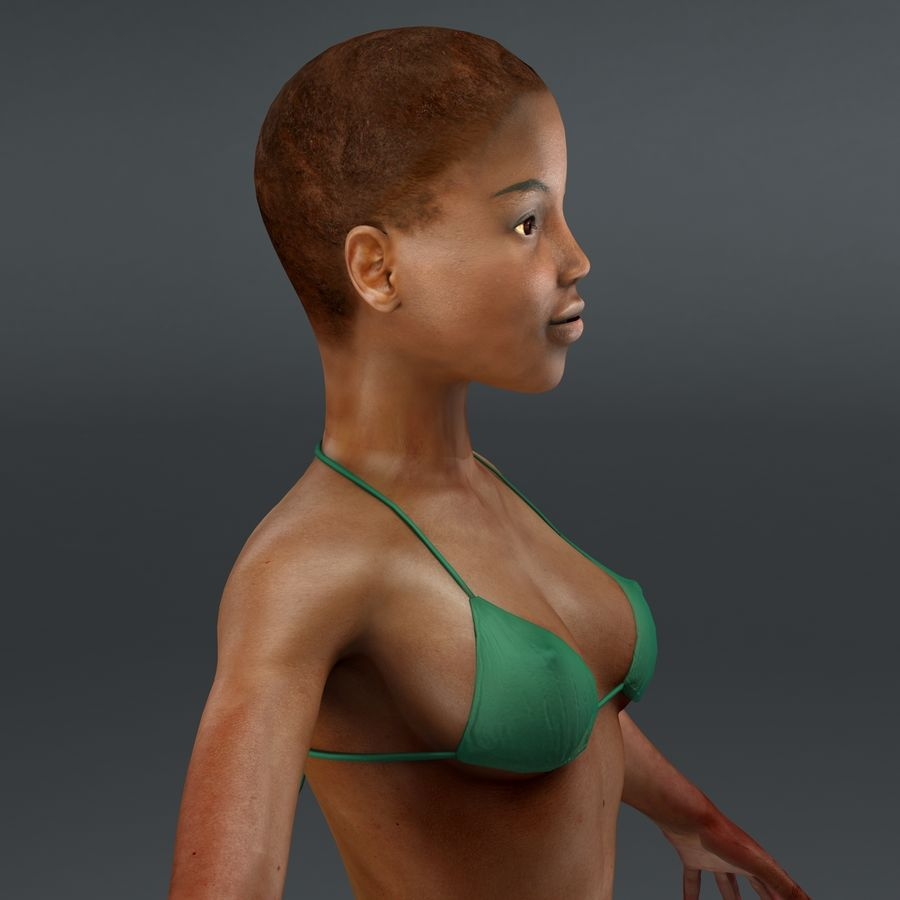黑人妇女 royalty-free 3d model - Preview no. 13