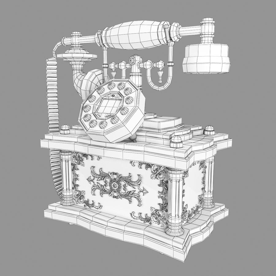Vintage Phone royalty-free 3d model - Preview no. 13