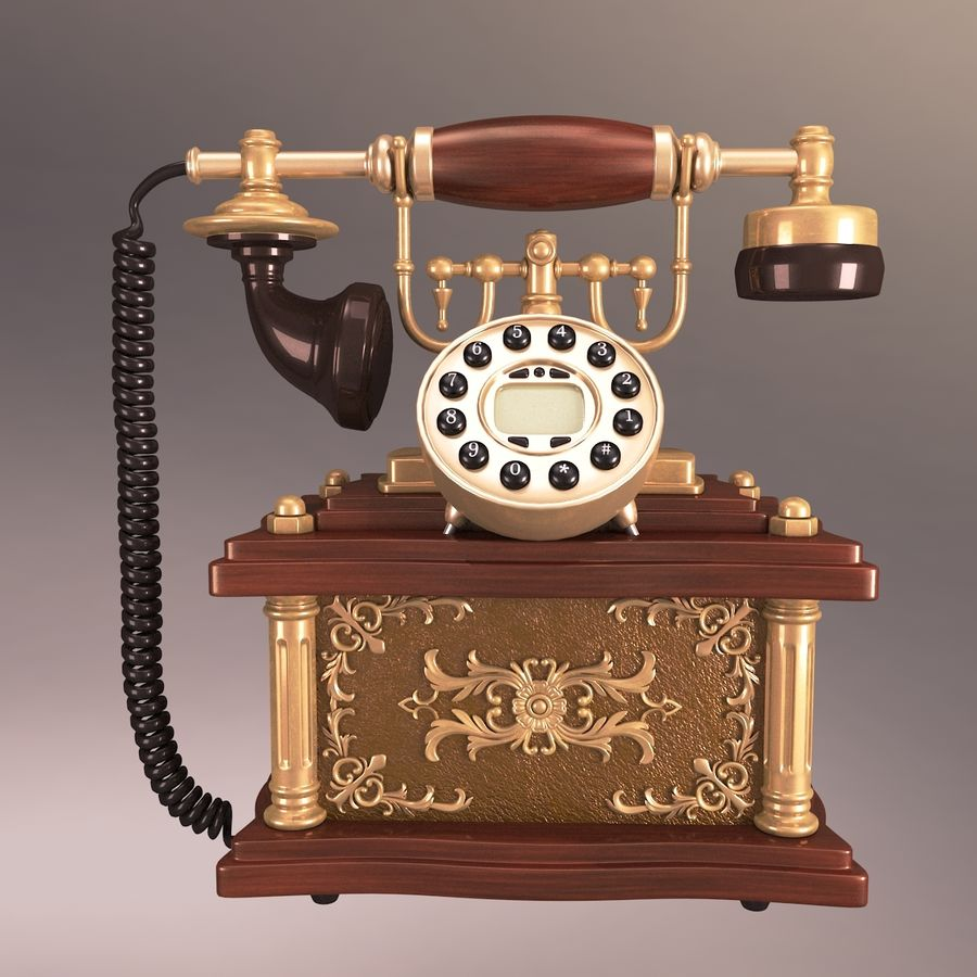 Vintage Phone royalty-free 3d model - Preview no. 4