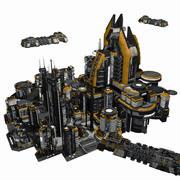 Sci Fi City och rymdskeppsmiljö - Sci-Fi-speltillgångar 3d model