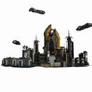 Sci Fi City and Spaceship Environment - Sci-Fi Game Assets 3d model