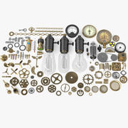 100 Steampunk-onderdelen 3d model