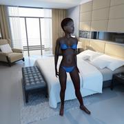 Zwarte vrouw opgetuigd 3d model