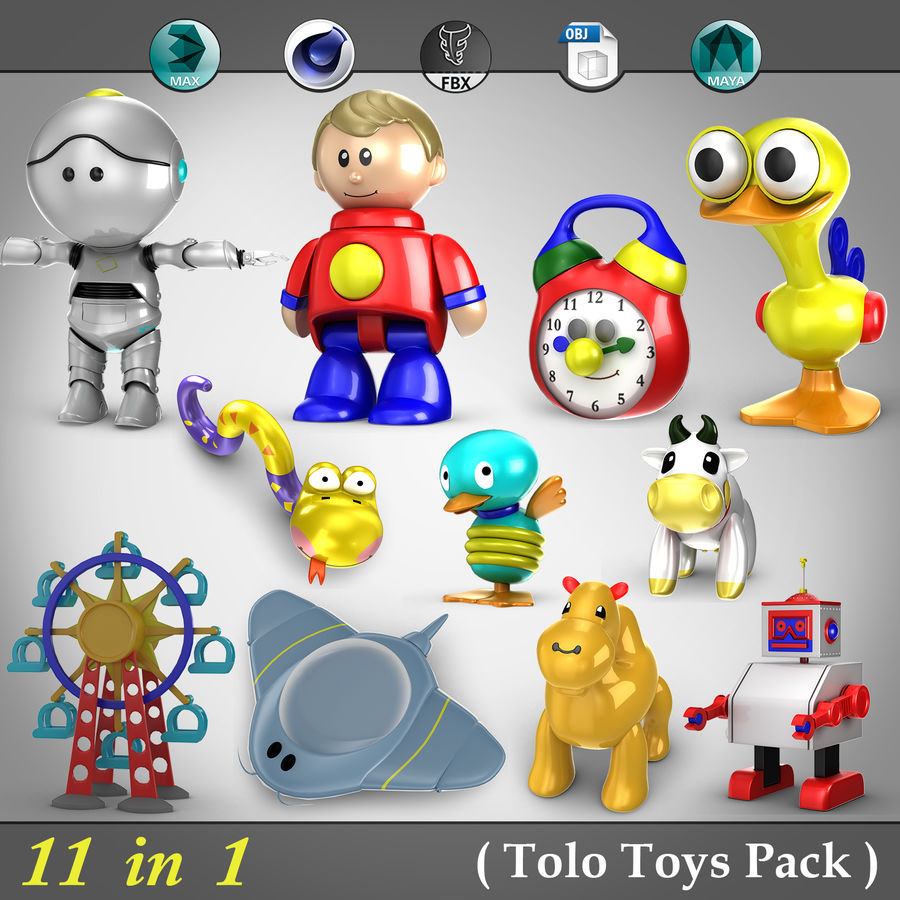 11 in 1 ( Tolo Toys Pack ) royalty-free 3d model - Preview no. 1