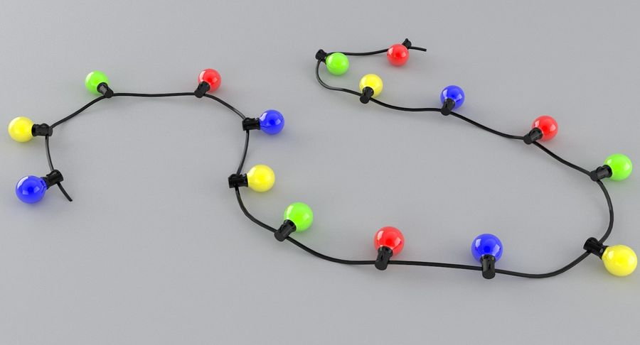 Large Bulb String Lights royalty-free 3d model - Preview no. 3