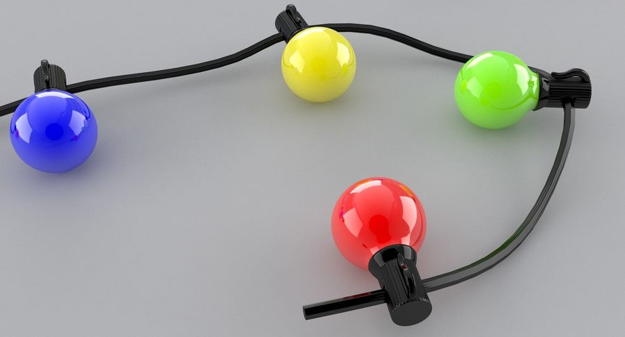 Large Bulb String Lights royalty-free 3d model - Preview no. 5