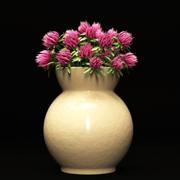 Fiori di trifoglio in un vaso 3d model