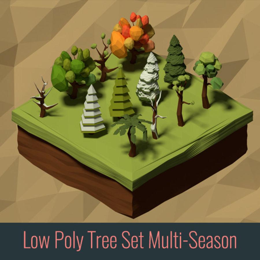 Zasoby drzew w Low Poly - 12 drzew royalty-free 3d model - Preview no. 1