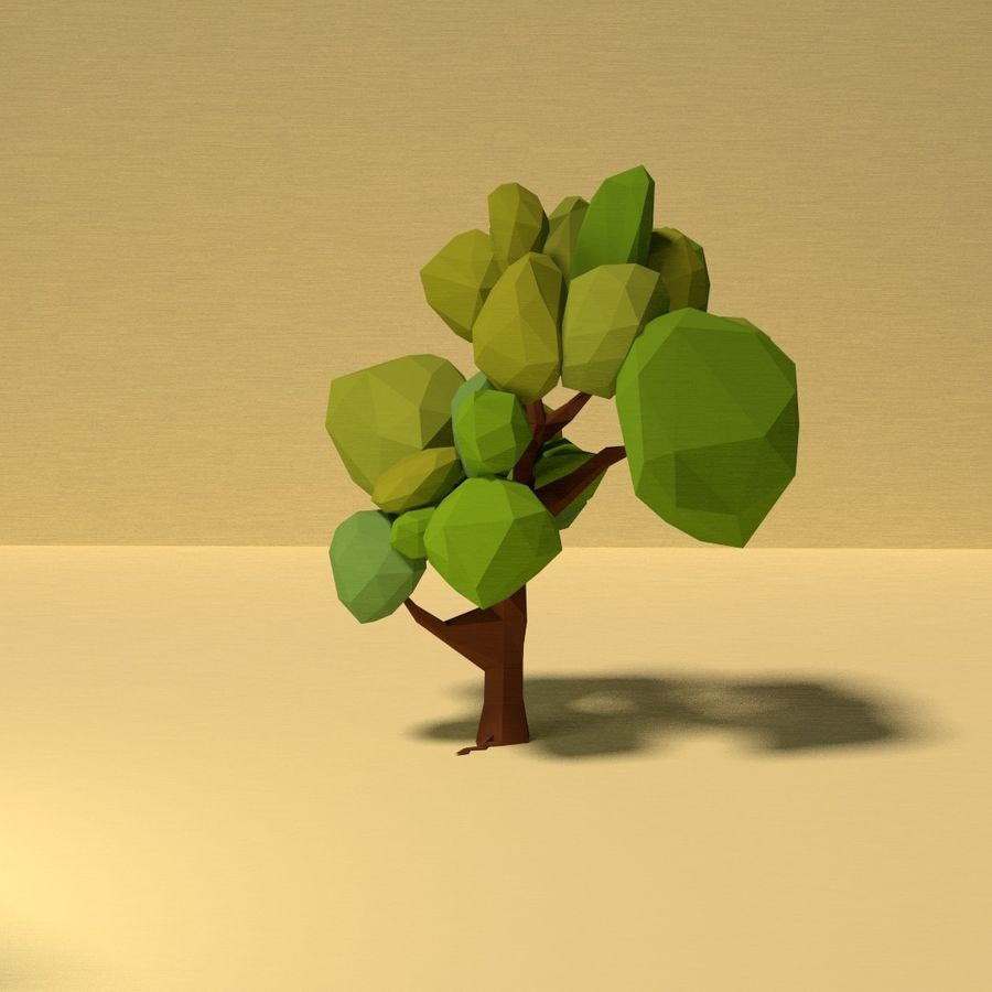 Zasoby drzew w Low Poly - 12 drzew royalty-free 3d model - Preview no. 4