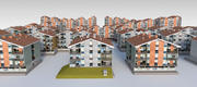 Paquete combinado de condominios suburbanos modelo 3d