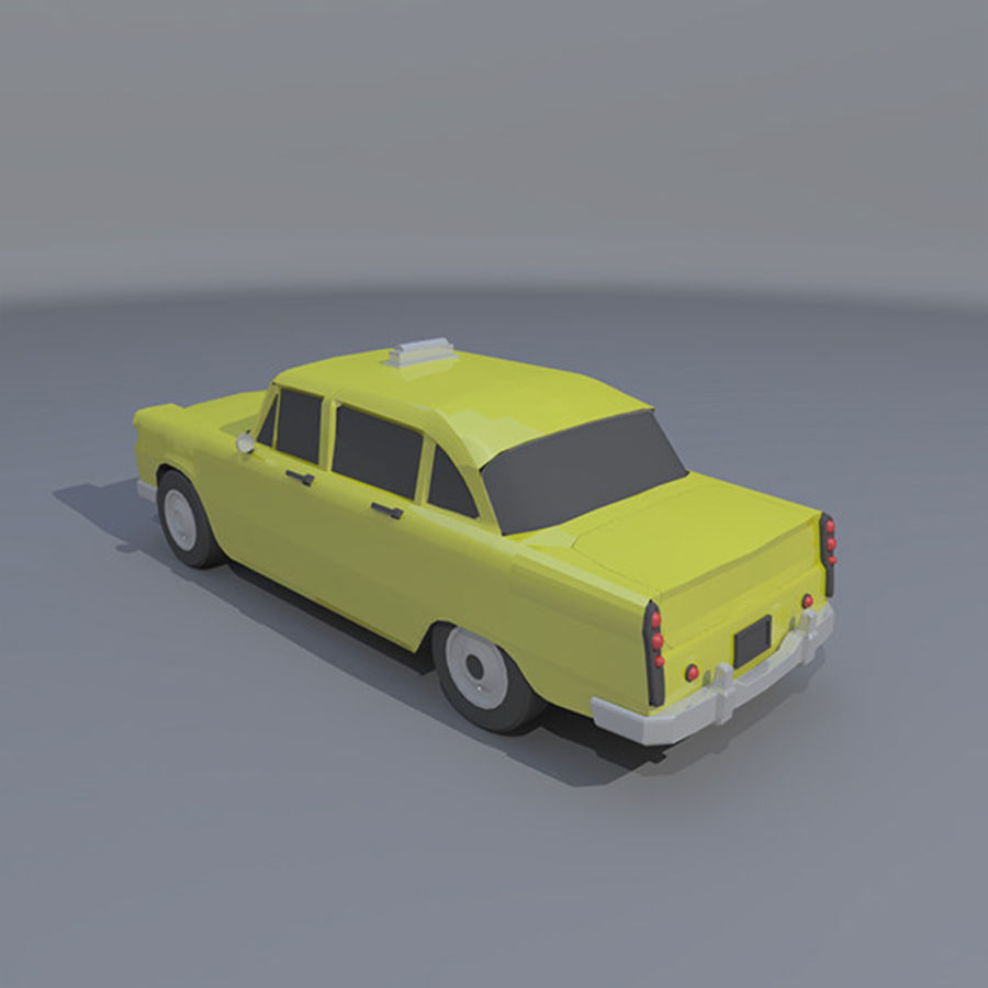 低ポリタクシー royalty-free 3d model - Preview no. 3