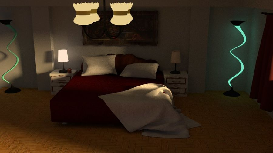 Simple Beautiful Room royalty-free 3d model - Preview no. 2
