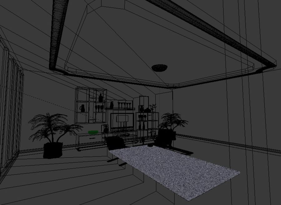 Beautiful Simple Room royalty-free 3d model - Preview no. 9