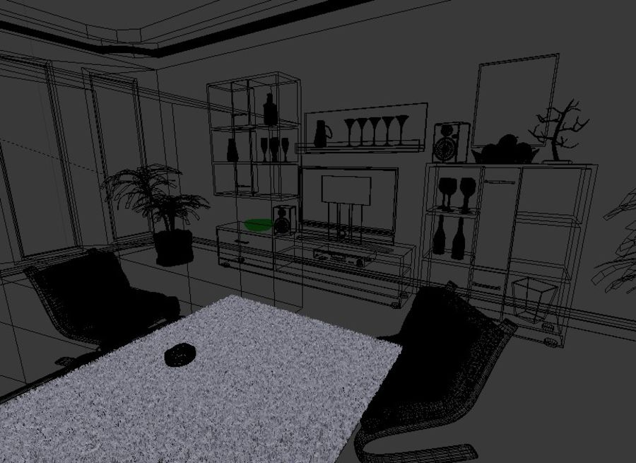 Beautiful Simple Room royalty-free 3d model - Preview no. 8