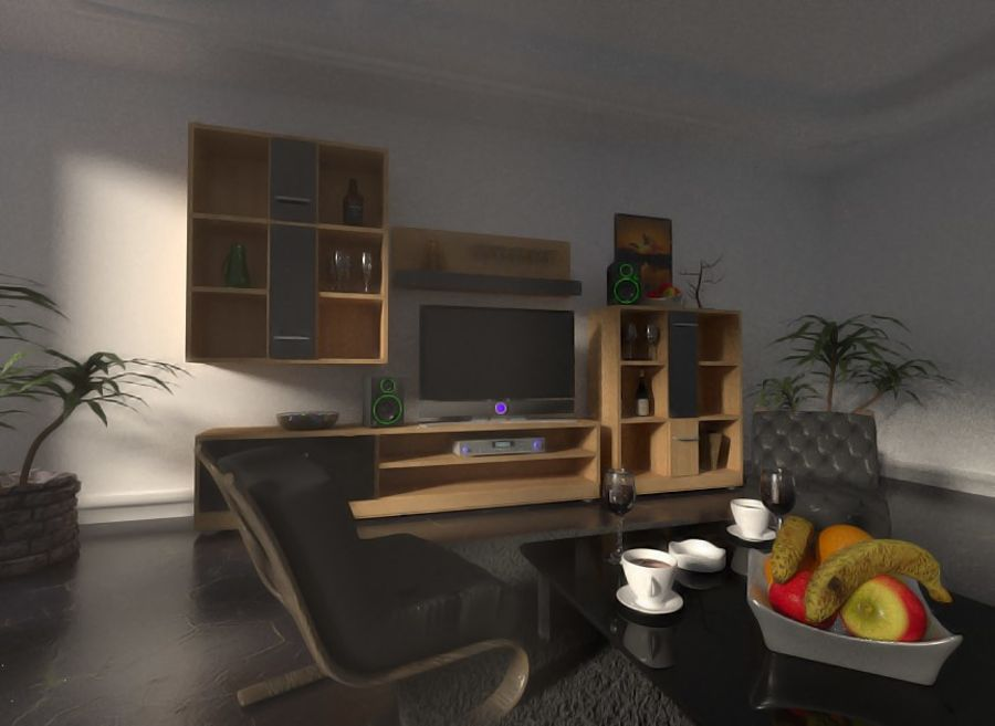 Beautiful Simple Room royalty-free 3d model - Preview no. 3