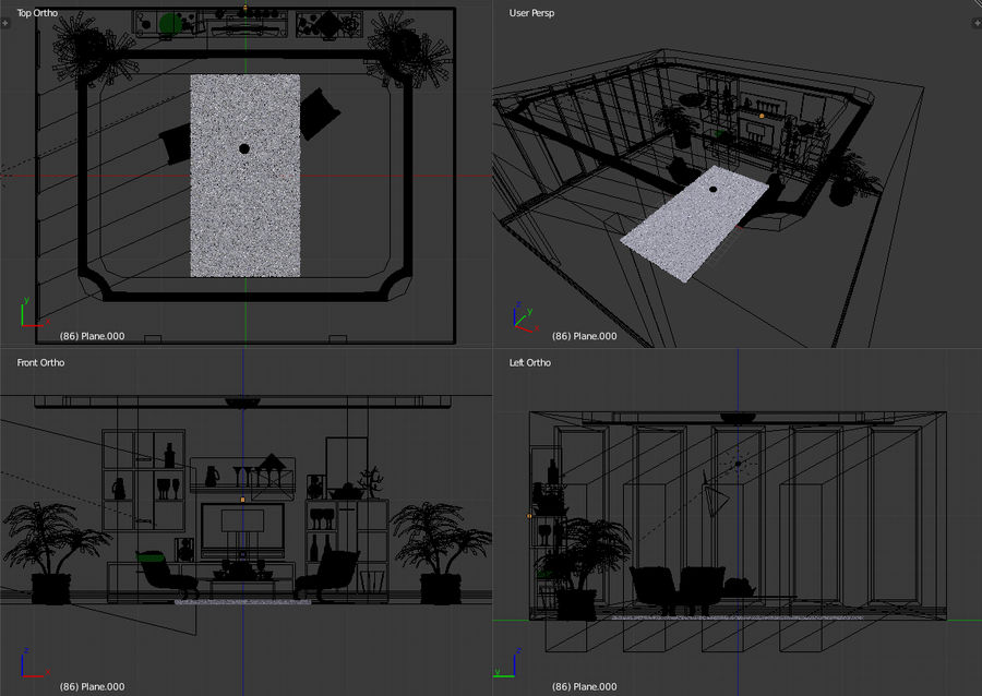 Beautiful Simple Room royalty-free 3d model - Preview no. 11