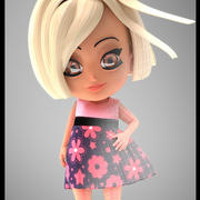 Fille en robe 3d model