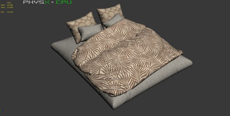 Bed Set 08 Highpoly royalty-free 3d model - Preview no. 8