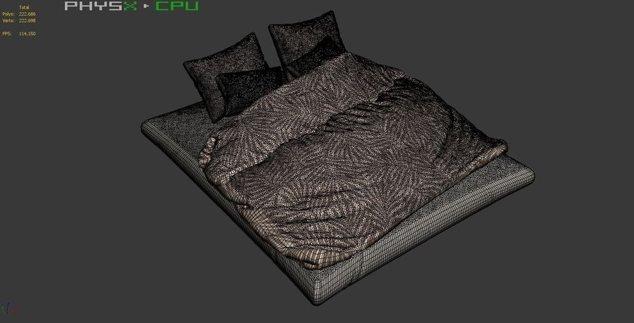 Bed Set 08 Highpoly royalty-free 3d model - Preview no. 9