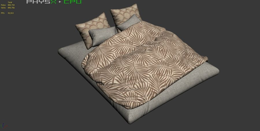 Bed Set 08 Highpoly royalty-free 3d model - Preview no. 7