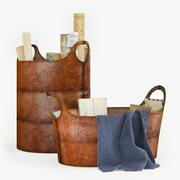 pottery barn hayes leather storage basket 3d model