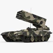 Rus 24 namlulu Çoklu Roketatar TOS-1A Arma 3d model