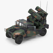 HMMWV M998 Equipped with Avenger Camo Rigged 3d model