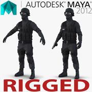 Афро-американец из спецназа, приспособленный для Maya 3D Модель 3d model
