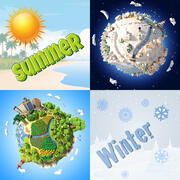 Collection 3D Cartoon Planets 3d model