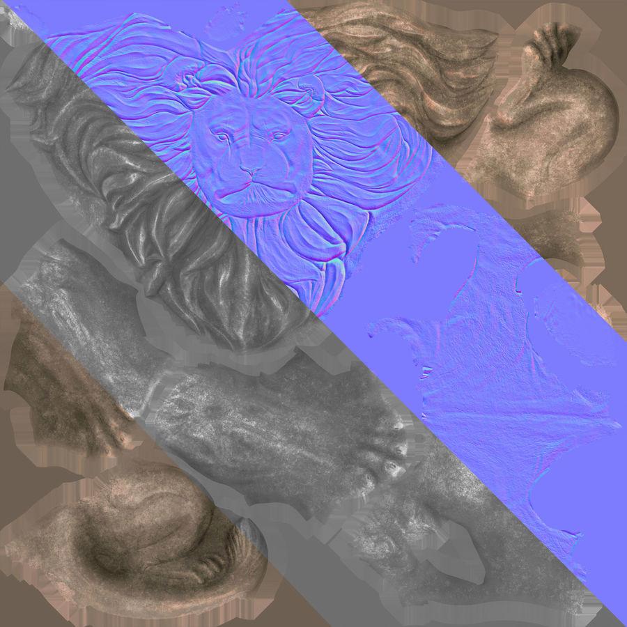 Lion Sculpture 3 royalty-free 3d model - Preview no. 7