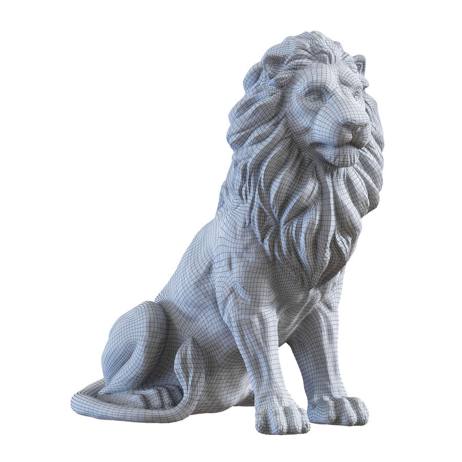 Lion Sculpture 3 royalty-free 3d model - Preview no. 8