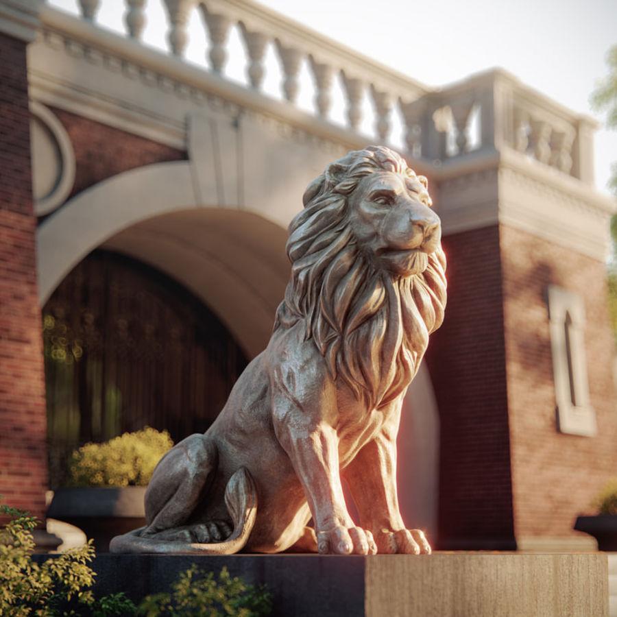 Lion Sculpture 3 royalty-free 3d model - Preview no. 2