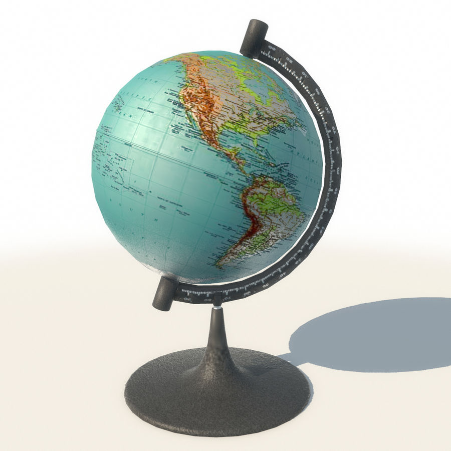 Modern Globe low poly royalty-free 3d model - Preview no. 2