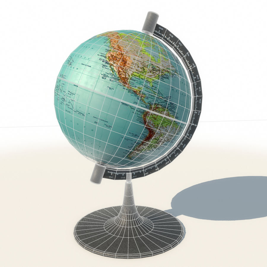 Modern Globe low poly royalty-free 3d model - Preview no. 3