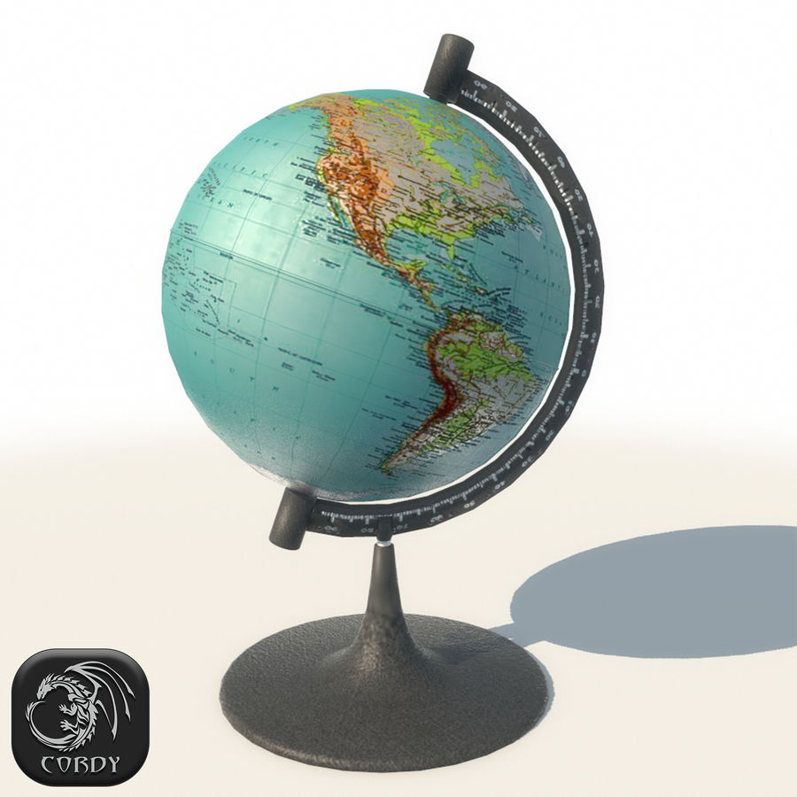 Modern Globe low poly royalty-free 3d model - Preview no. 1