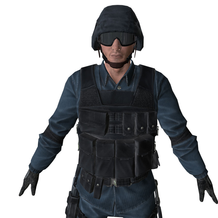 SWAT character (Rigged) royalty-free 3d model - Preview no. 1
