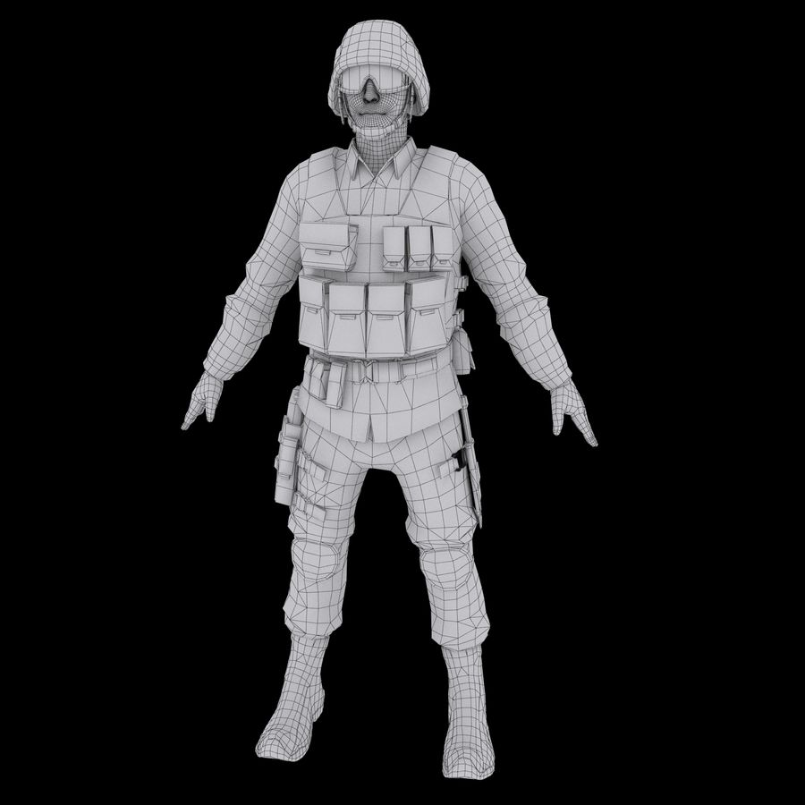 SWAT character (Rigged) royalty-free 3d model - Preview no. 21