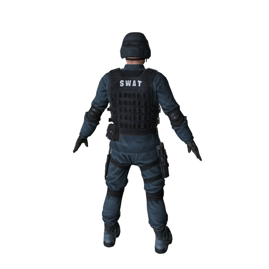 SWAT character (Rigged) royalty-free 3d model - Preview no. 10