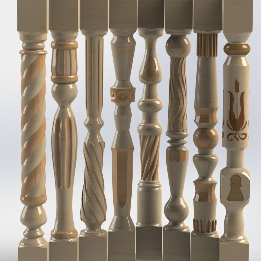 carved wooden baluster royalty-free 3d model - Preview no. 1