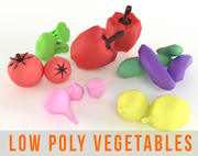 Vegetables Low Poly Set Cucumber Onion Pepper Broccoli Tomato 3d model
