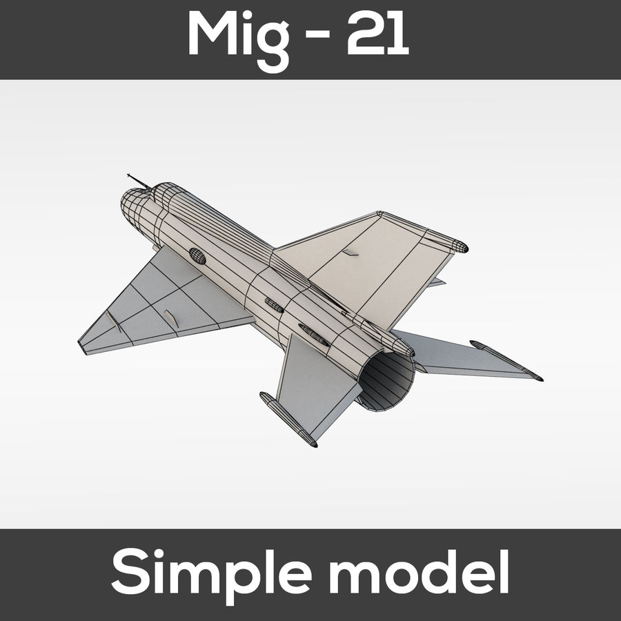 Mig - 21 Fishbed (simple model) royalty-free 3d model - Preview no. 2