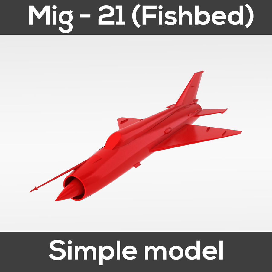 Mig - 21 Fishbed (simple model) royalty-free 3d model - Preview no. 4