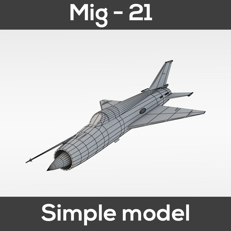 Mig - 21 Fishbed (simple model) royalty-free 3d model - Preview no. 1