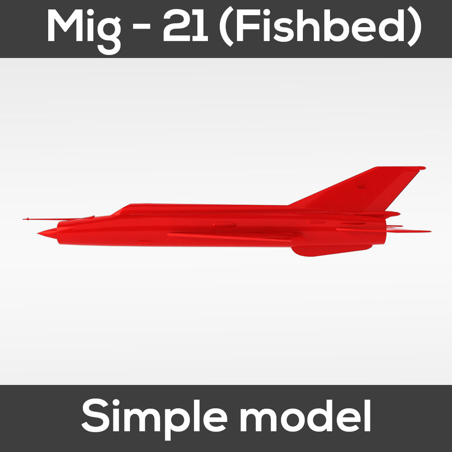 Mig - 21 Fishbed (simple model) royalty-free 3d model - Preview no. 10