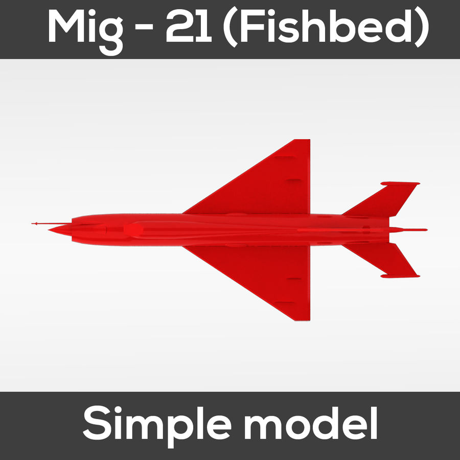 Mig - 21 Fishbed (simple model) royalty-free 3d model - Preview no. 7