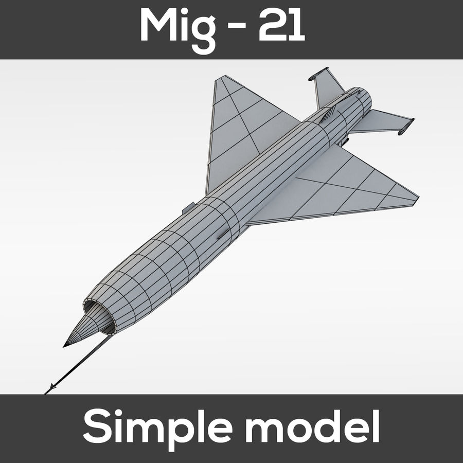 Mig - 21 Fishbed (simple model) royalty-free 3d model - Preview no. 3