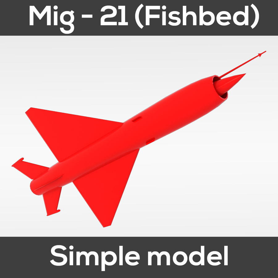 Mig - 21 Fishbed (simple model) royalty-free 3d model - Preview no. 8