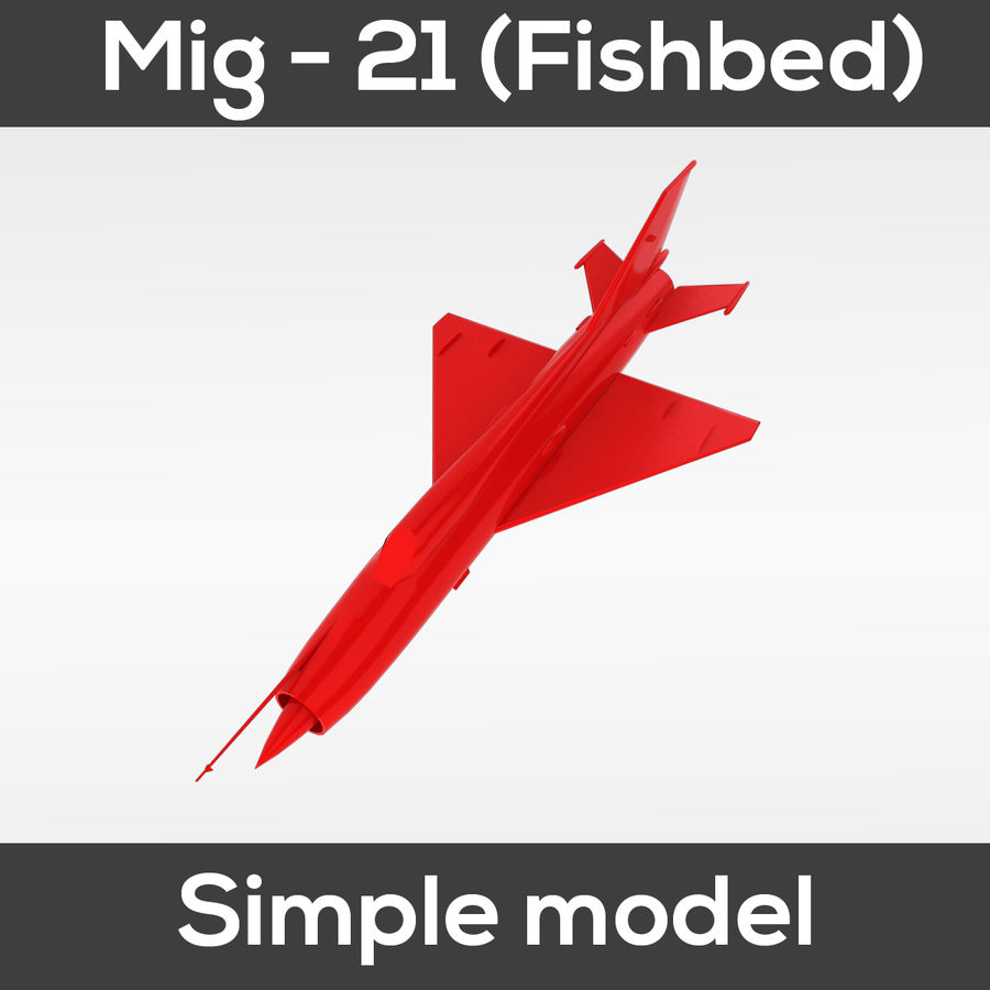 Mig - 21 Fishbed (simple model) royalty-free 3d model - Preview no. 6