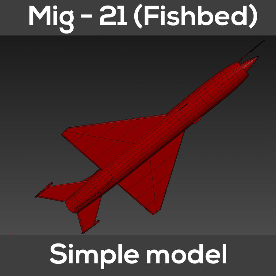 Mig - 21 Fishbed (simple model) royalty-free 3d model - Preview no. 11